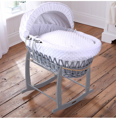Clair De Lune Padded Grey Wicker Moses Basket & Deluxe Rocking Stand - Dimple White