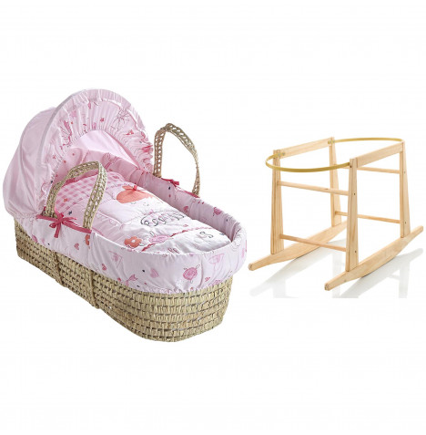Clair De Lune Palm Moses Basket And Rocking Stand - Tippy Toes Pink