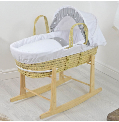 4baby Deluxe Palm Moses Basket & Rocking Stand - White / Grey White Stars