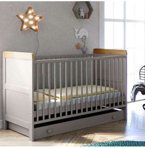 Little Acorns Classic Milano Cot Bed and Drawer with Deluxe Foam Mattress - Grey / Oak