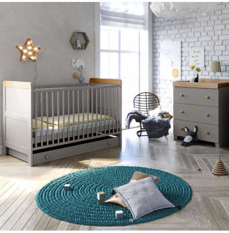 Little Acorns Classic Milano Cot Bed 4 Piece Nursery Furniture Set with Drawer - Grey / Oak
