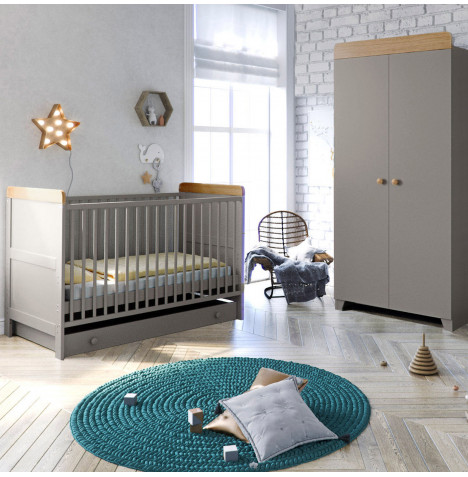Little Acorns Classic Milano Cot Bed 3 Piece Nursery Furniture Set with Drawer - Grey / Oak
