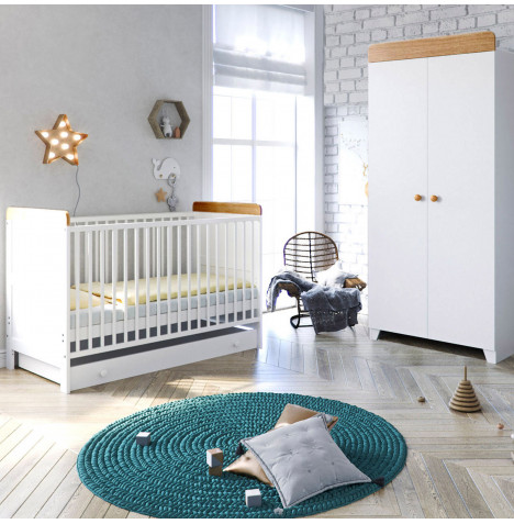 Little Acorns Classic Milano Cot Bed 3 Piece Nursery Furniture Set with Drawer - White & Oak