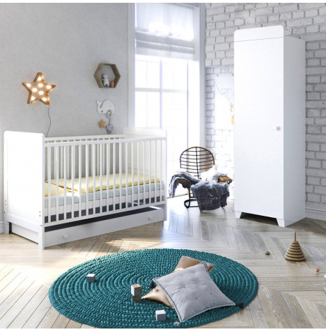 Little Acorns Classic Milano Cot Bed 4 Piece Nursery Furniture Set with Deluxe Maxi Air Cool Mattress - White