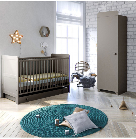 Little Acorns Classic Milano Cot Bed 3 Piece Nursery Furniture Set with Deluxe Foam Mattress - Light Grey
