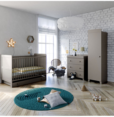 Little Acorns Classic Milano Cot Bed 5 Piece Nursery Furniture Set With Deluxe Foam Mattress - Light Grey