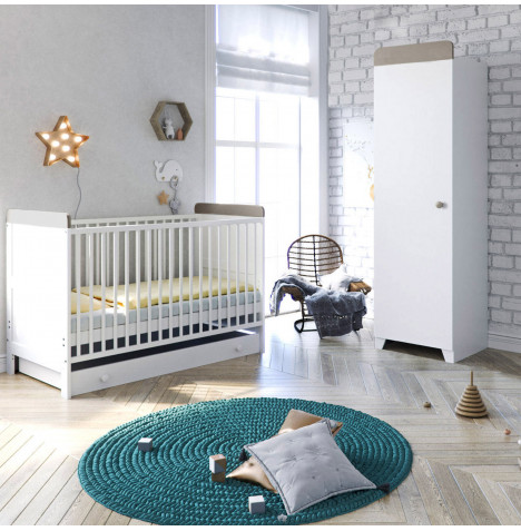Little Acorns Classic Milano Cot Bed 3 Piece Nursery Furniture Set with Drawer - White / Grey