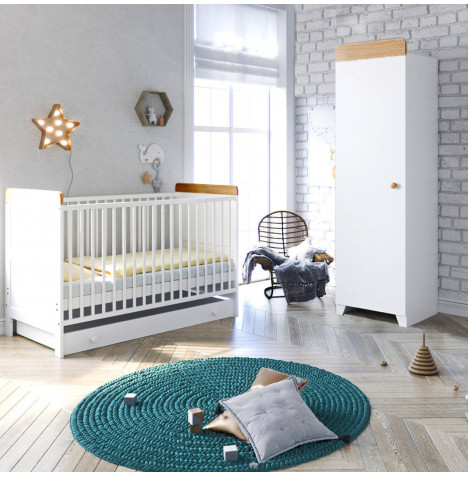 Little Acorns Classic Milano Cot Bed 4 Piece Nursery Furniture Set with Deluxe Foam Mattress - White & Oak