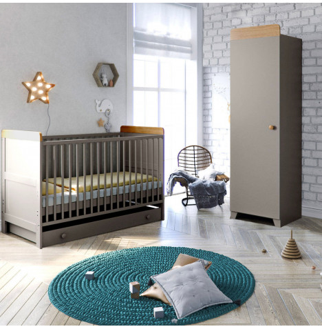 Little Acorns Classic Milano Cot Bed 4 Piece Nursery Furniture Set with Deluxe Maxi Air Cool Mattress - Grey & Oak