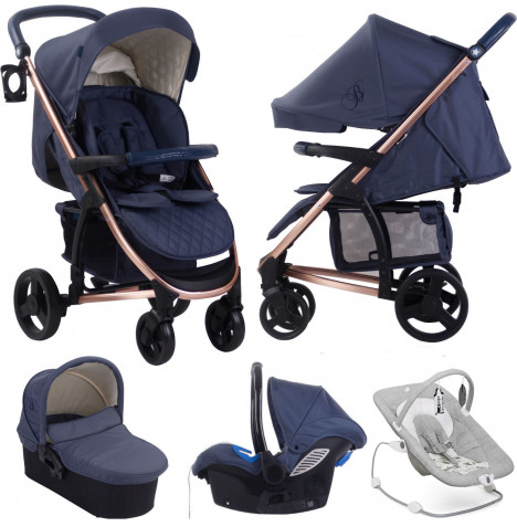 My Babiie MB200+ *Billie Faiers Collection* Travel System & Carrycot with Joie Wish Bouncer Bundle - Rose Gold & Navy / Petite City
