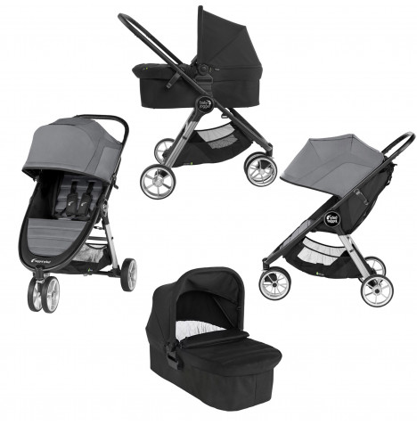 Baby Jogger City Mini 2 Single Pushchair Stroller with Carrycot - Slate Grey / Jet Black