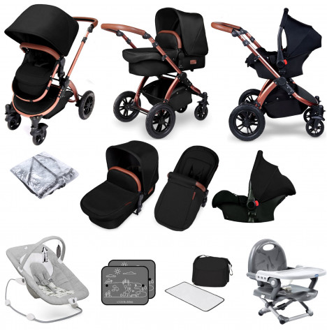 Ickle bubba Special Edition Stomp V4 All In One (Galaxy Car Seat) Travel System Bundle - Midnight Bronze