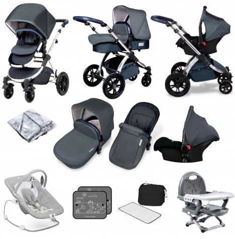 Ickle bubba Special Edition Stomp V4 All In One (Galaxy Car Seat) Travel System Bundle - Blueberry