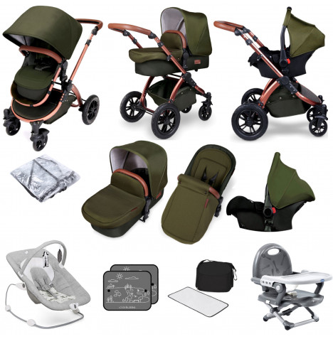 Ickle bubba Special Edition Stomp V4 All In One (Galaxy Car Seat) Travel System Bundle - Woodland