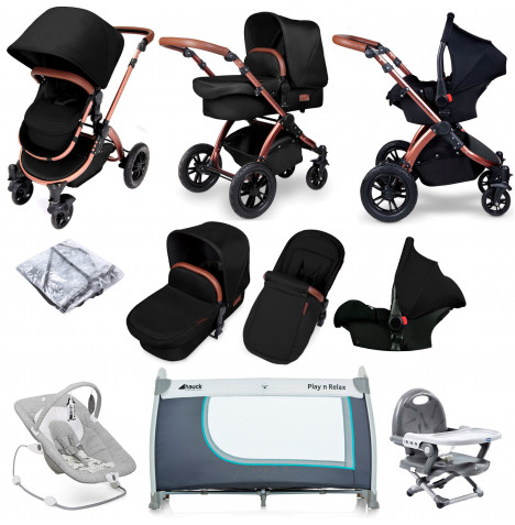 Ickle bubba Special Edition Stomp V4 (Galaxy Car Seat) Everything You Need Travel System Bundle - Midnight Bronze
