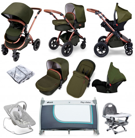 Ickle bubba Special Edition Stomp V4 (Galaxy Car Seat) Everything You Need Travel System Bundle - Woodland