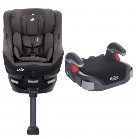 Joie Spin 360 GT Luxury Group 0+/1  ISOFIX Car Seat with Graco Booster Basic Group 2/3 Car Seat Bundle Ember / Black