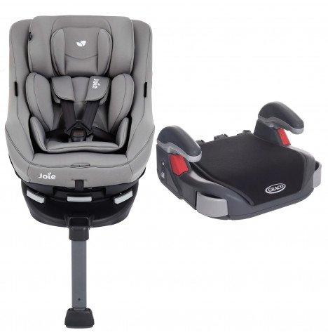 Joie Spin 360 GT Luxury Group 0+/1 ISOFIX Car Seat with Graco Booster Basic Group 2/3 Car Seat Bundle Grey Flannel / Black