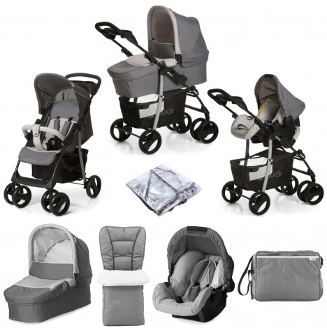 Hauck Shopper SLX Trio Set Travel System with Footmuff, Changing Bag & Raincover- Stone / Grey