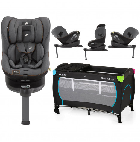 Joie Limited Edition i-Spin 360 iSize ISOFIX Group 0+/1 Car Seat With Free Hauck Sleep n Play Center Travel Cot / Playpen - Signature Noir / Multicolour Black