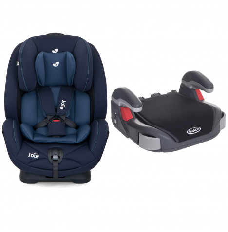 Joie Stages Group 0+,1,2 Car Seat With Free Graco Booster Basic Group 2/3 Car Seat- Navy Blazer / Midnight Black