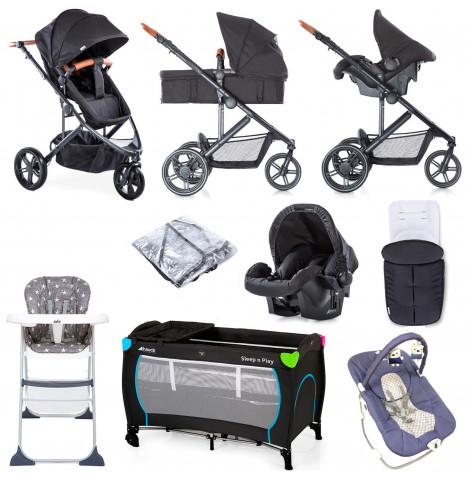 Hauck Pacific 3 Shop n Drive Everything You Need Travel System Bundle - Caviar