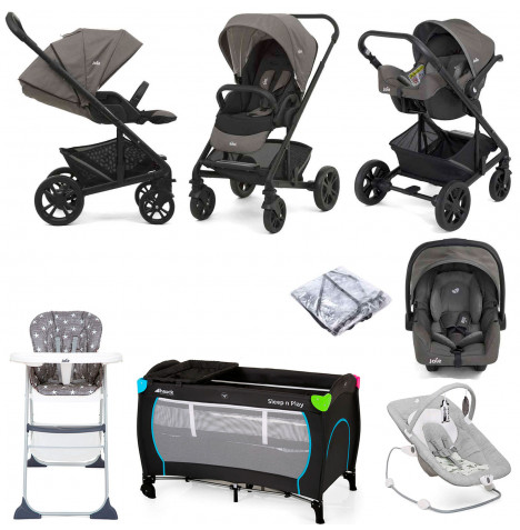Joie Chrome (Gemm) Everything You Need Travel System Bundle - Grey