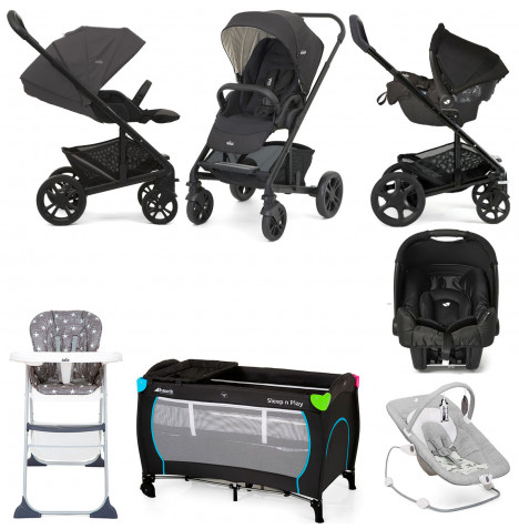 Joie Chrome (Gemm) Everything You Need Travel System Bundle - Pavement / Ember
