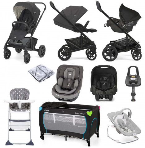 Joie Chrome (i-Venture & Gemm) Everything You Need Travel System Bundle With ISOFIX Base - Pavement / Ember