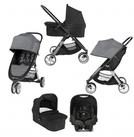 Baby Jogger City Mini 2 (Gemm) Travel System with Carrycot - Slate / Jet Black