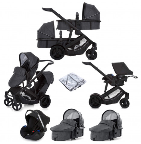 Hauck Duett 3 Tandem (Comfort Fix) Travel System With 2 Carrycots  - Melange Charcoal