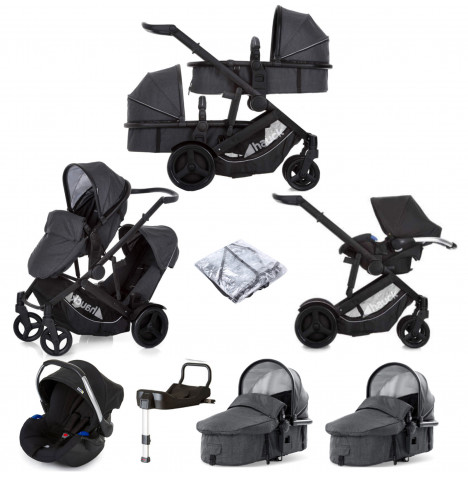 Hauck Duett 3 Tandem (Comfort Fix) Travel System With 2 Carrycots + ISOFIX Base - Melange Charcoal