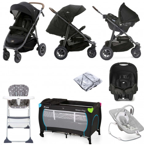 Joie Limited Edition MyTrax Flex (Gemm) Everything You Need Travel System Bundle - Signature Noir