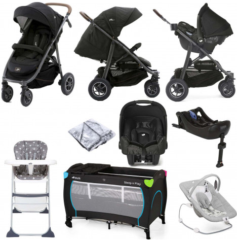 Joie Limited Edition MyTrax Flex (Gemm) Everything You Need Travel System Bundle with ISOFIX Base - Signature Noir