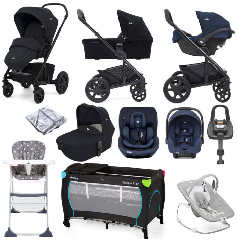 Joie Chrome DLX (i-Snug & i-Venture) Everything You Need Travel System With Carrycot and ISOFIX Base Bundle - Navy Blazer