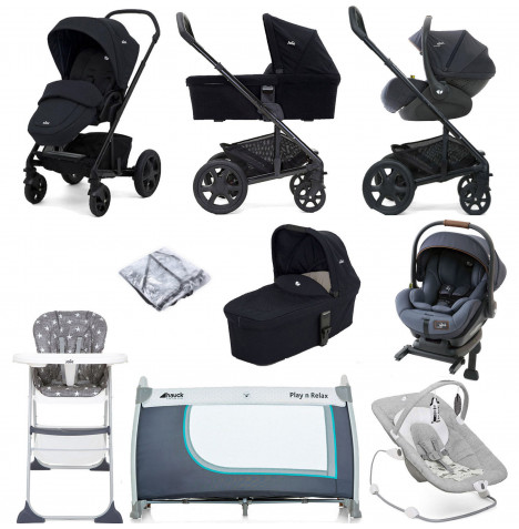 Joie Chrome DLX (i-Level) Everything You Need Travel System With Carrycot and ISOFIX Base Bundle - Navy Blazer / Granit Bleu