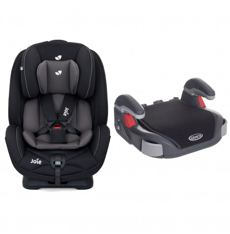 Joie Stages Group 0+,1,2 Car Seat with Free Graco Booster Basic Group 2/3 Car Seat - Coal / Midnight Black