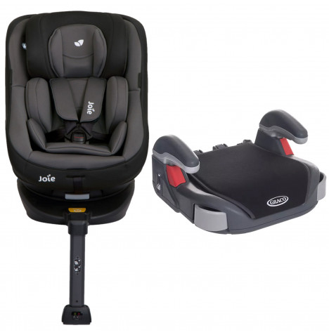 Joie Spin 360 Group 0+/1 ISOFIX Car Seat with Free Graco Booster Basic Group 2/3 Car Seat - Ember / Midnight Black