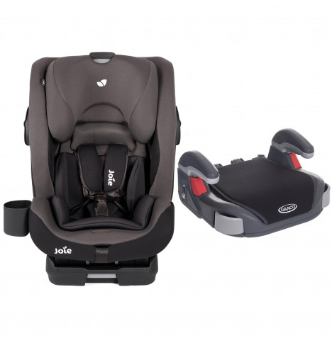 Joie Bold Group 1,2,3 Isofix Car Seat with Free Graco Booster Basic Group 2/3 Car Seat - Ember / Midnight Black