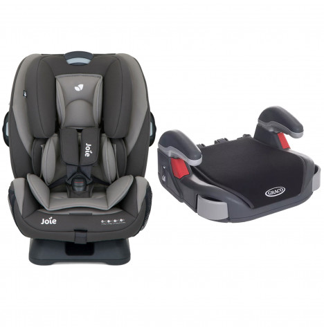 Joie Every Stage Group 0+/1/2/3 Car Seat with Free Graco Booster Basic Group 2/3 Car Seat - Dark Pewter / Midnight Black
