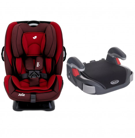 Joie Every Stage Group 0+/1/2/3 Car Seat with Free Graco Booster Basic Group 2/3 Car Seat - Salsa / Midnight Black