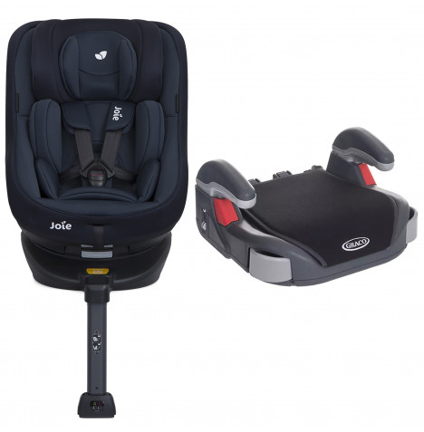 Joie Spin 360 Group 0+/1 ISOFIX Car Seat with Free Graco Booster Basic Group 2/3 Car Seat - Deep Sea / Midnight Black