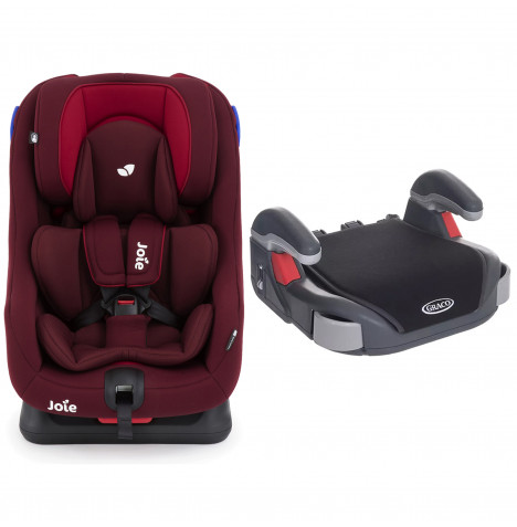 Joie Steadi Group 0+/1 Car Seat with Free Graco Booster Basic Group 2/3 Car Seat - Merlot / Midnight Black