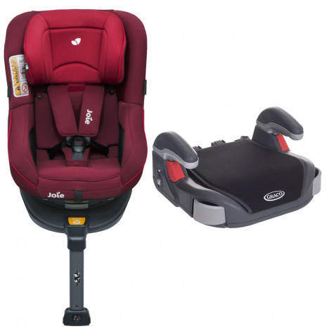 Joie Spin 360 Group 0+/1 ISOFIX Car Seat with Free Graco Booster Basic Group 2/3 Car Seat - Merlot / Midnight Black