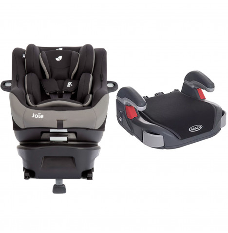 Joie Spin Safe Group 0+/1 ISOFIX Car Seat with Free Graco Booster Basic Group 2/3 Car Seat - Black Pepper / Midnight Black