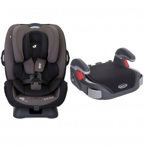 Joie Every Stage Group 0+/1/2/3 Car Seat with Free Graco Booster Basic Group 2/3 Car Seat - Ember / Midnight Black