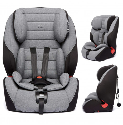 My Babiie Tulsa Every Stage Group 1/2/3 ISOFIX High Back Booster Car Seat - Black / Grey