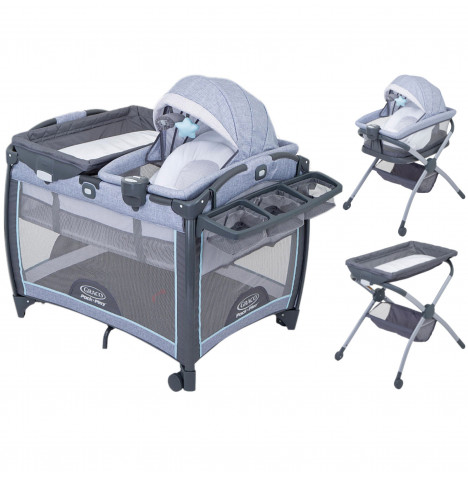 Graco Day2Dream 4 in 1 Bassinet Travel Cot & Bedside Sleeper - Layne