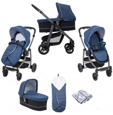 Graco Evo Avant Pushchair Stroller With Carrycot - Ink
