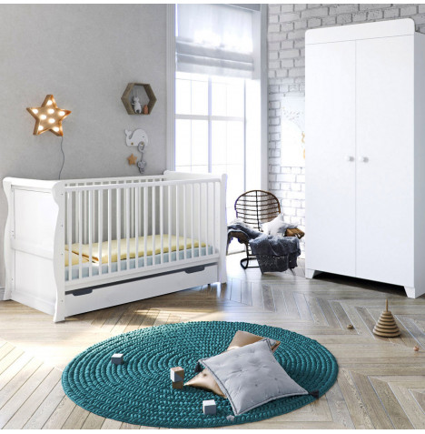 4Baby Little Acorns Sleigh Cot Bed and Wardrobe Nursery Furniture Set - White